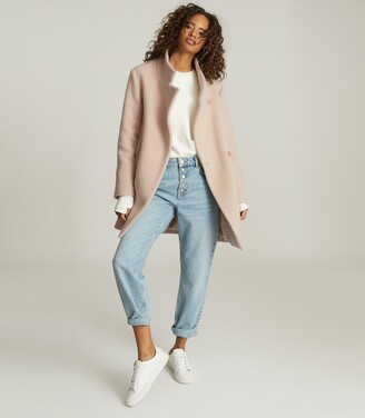 Reiss Sicily - Wool Blend Mid Length Coat in Pale Pink