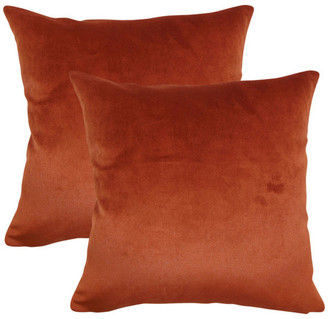 The Pillow Collection Juno Solid Throw Pillows, Rust, Set of 2
