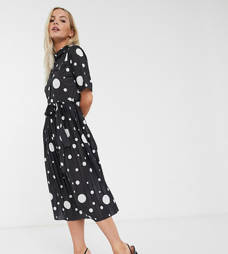 ASOS DESIGN Petite midi shirt dress with pleated skirt and belt in spot print