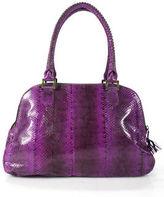 Beirn Bright Purple Snakeskin Double Handle Satchel Handbag New