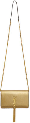 Saint Laurent Gold Small Kate Tassel Bag