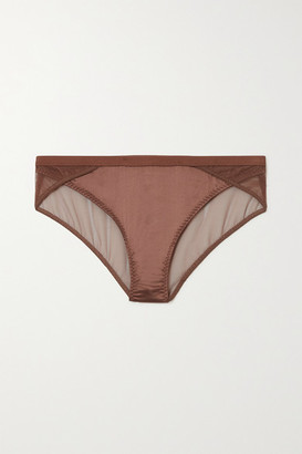 LOVE Stories Lara Satin And Stretch-tulle Briefs - Brown