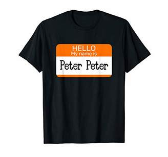 Hello My Name is Peter sticker name tag on a Shirt Pumpkin T-Shirt