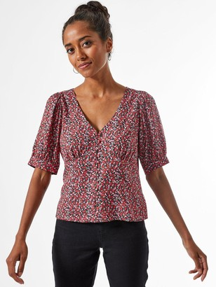 Dorothy Perkins Petite Ditsy Button Through Top - Red