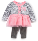 Buster Brown Sachet Pink & Charcoal Heather Leopard Top and Leggings - Infant
