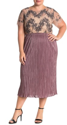 Everleigh Solid Plisse Satin Midi Skirt (Plus Size)