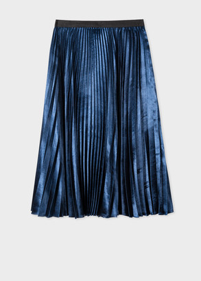 Paul Smith Women's Navy Satin Pleated Midi Skirt