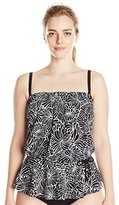 Maxine Of Hollywood Women's Plus-Size Desert Bloom Peplum Tankini