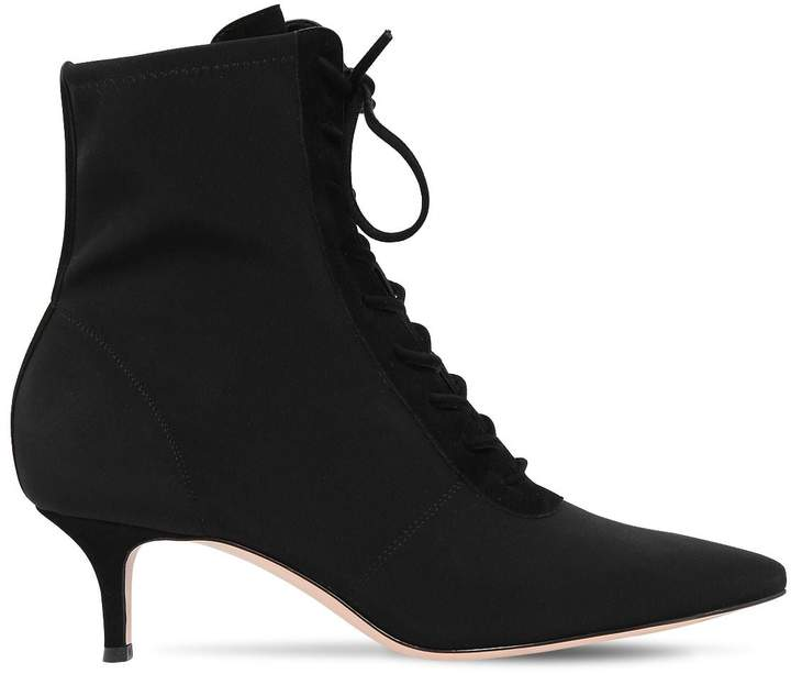 Gianvito Rossi 55mm Stretch Jersey Lace-Up Ankle Boots