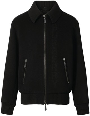 Burberry Detachable Collar Wool Bomber Jacket