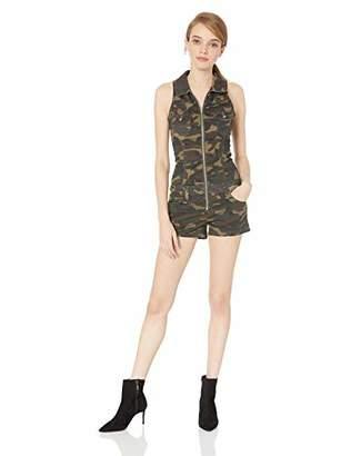 V.I.P. JEANS Women's Slim Fit Sleeveless Denim Romper Shorts Zip Up