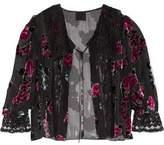 Anna Sui Lace-Paneled Gathered Flocked Chiffon Jacket