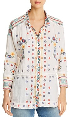 Johnny Was Florence Embroidered Gauze Blouse