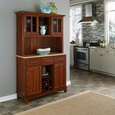 Home Styles Three-Drawer 44 in. W Cherry Buffet with Wood Top and Hutch