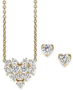 "Eliot Danori Crystal Heart Pendant Necklace & Stud Earrings Set, 16"" + 1"" extender, Created for Macy's"