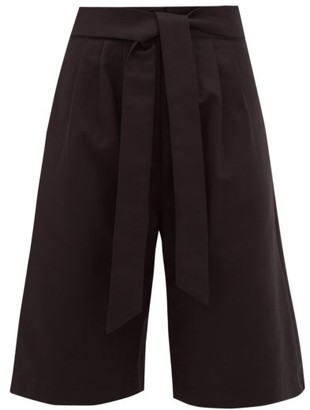 Merlette New York Sant Pere High-rise Pleated Cotton-twill Shorts - Womens - Black