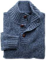 Charles Tyrwhitt Blue Mouline Button Neck Wool Sweater Size Medium