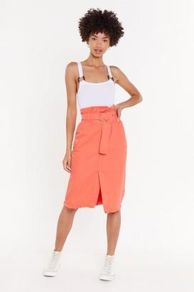 Nasty Gal Womens Give Me A Call Paperbag Denim Midi Skirt - Orange - 4, Orange