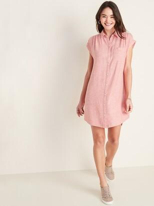 Old Navy Linen-Blend Shirred Shirt Dress for Women