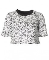 French Connection Flint Sequin Short Sleeved Crop Top