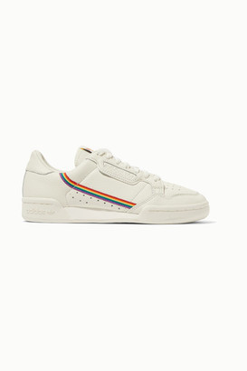 adidas Continental 80 Pride Grosgrain-trimmed Textured-leather Sneakers - Cream
