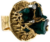 Ring 18K Raw Emerald & Diamond