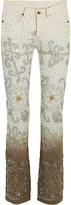Ashish Voyage Embellished Dégradé Mid-rise Bootcut Jeans - White