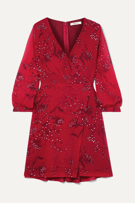 Madewell Wrap-effect Floral-print Crepe De Chine Mini Dress - Red