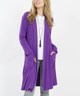 Lydiane Women's Open Cardigans PURPLE - Purple Long-Sleeve Slouchy-Pocket Open Cardigan - Women