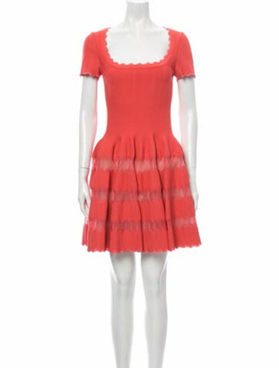 Alaia Square Neckline Mini Dress Pink