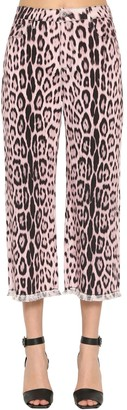 Roberto Cavalli Cropped Leopard Print Cotton Denim Jeans