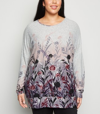 New Look Curves Floral Fine Knit Jumper