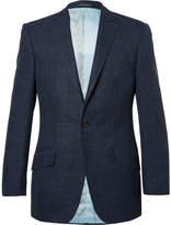 Richard James Blue Hyde Slim-fit Checked Wool, Silk And Linen-blend Blazer