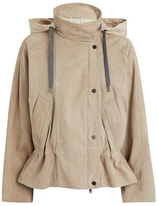 Brunello Cucinelli Suede Hooded Jacket