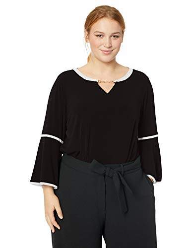 Calvin Klein Women's Plus Size Long Sleeve with PU Binding & Hardware