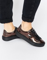 Puma Classic Platform Sneakers In Shiny Bronze