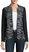 Elie Tahari Greer Lace-Trim Textured Jacket, Blue/White