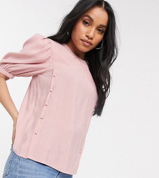Vila Petite top with button detail in pink