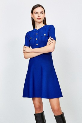 Karen Millen Military Button and Pocket Knitted Dress