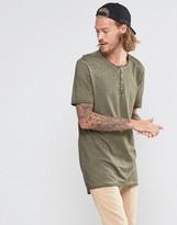 Asos Super Longline T-Shirt With Grandad Collar And Nibbling