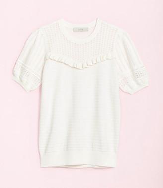 LOFT Petite Ruffle Puff Sleeve Sweater Tee