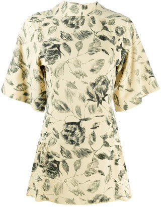 Charlotte Knowles Floral Sketch Mini Dress