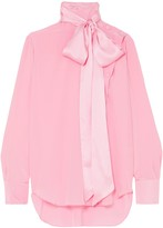 ADAM by Adam Lippes Pussy-bow Silk-crepe Blouse