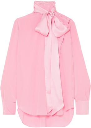 Adam Lippes Pussy-bow Silk-crepe Blouse