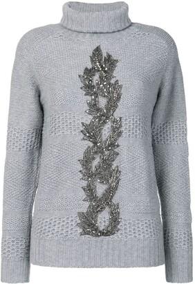 Jo No Fui embellished turtle neck sweater