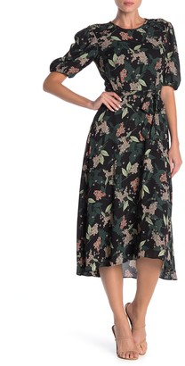 Donna Morgan Smocked Shoulder Floral Print Dress