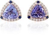 Artisan 18Kt Solid Rose Gold Pave Diamond Blue Sapphire Tanzanite Stud Earring Handmade Jewelry
