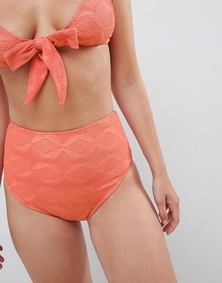 Asos Design DESIGN Mix And Match Crochet High Waist Bikini Bottom-Orange