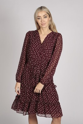 Tenki FULL SLEEVE FLORAL TIER WRAP DRESS IN MAROON RED