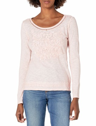 Tribal Women's L/S Embroidered TOP-Rose Smoke XL